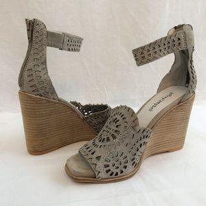 Jeffrey Campbell Del Sol Wedge Sandals Grey Suede